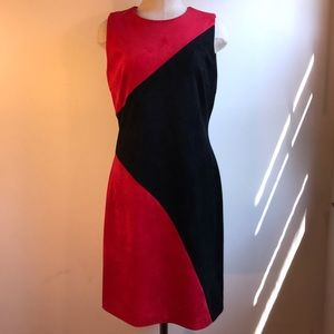 NWT Faux Suede Color Block Dress Calvin Klein